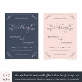 Hand Drawn Doodle Wedding Invitations Design Template. Hand Drawn Invitations Wedding Card Design Wi poster