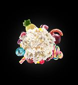 Whipped Round Cream With Colored Sweets, Jelly And Candies Isolated. Sweet Life Concept. Sweet Desse poster