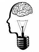 Brain head lightbulb vector