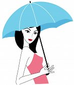 Young attractive woman with a blue umbrella