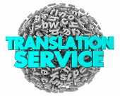 Translation Service Letter Sphere Translated Words 3d Illustration poster