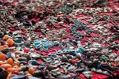 Colorful Necklaces For Sale At The Flea Market, Consumption Background, Selected Focus, Narrow Depth poster