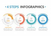 Infographic Template With Four Round Progress Indicators, Four Steps Infographics, Workflow, Process poster