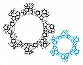 Gears Collage Of Gear Components. Vector Mechanical Wheel Objects Are Combined Into Gears Compositio poster
