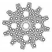 Cogwheel Collage Of Gear Elements. Vector Gear Elements Are Organized Into Cogwheel Figure. poster