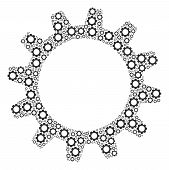 Cogwheel Mosaic Of Mechanical Wheels. Vector Gear Components Are Organized Into Cogwheel Figure. poster