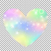Unicorn With Rainbow Mesh Heart Icon. Kawaii Universe Clip Art In Princess Colors. Fantasy Gradient  poster