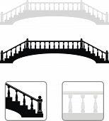 Siluetas de puente piedra antigua