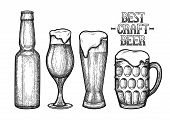 Graphic Beer In The Bottle And Glasses Of Three Different Shapes. Vintage Vector Illustration Of Alc poster