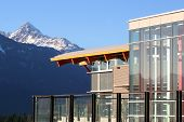 stock photo of building exterior  - A patio of a new university in Squamish BC Canada - JPG