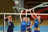 KAPOSVAR, HUNGARY - APRIL 24: Zsanett Pinter (2) blocks the ball at the Hungarian NB I. League woman