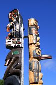 image of indian totem pole  - Totem Pole at Vancouver Island - JPG