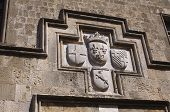 French coat of arms, Rhodes old town, Greece.