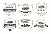 Set Of Muscle Car Emblems And Badges. Classic Car T-shirt Template. Old American Car From 60s. poster