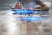 Consulting Business Concept. Text And Icons On Virtual Screen poster