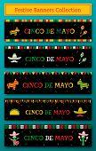 Set Of 5 National Festival Cinco De Mayo Web Banner. Festive Pinata And Maracas, Taco, Sombrero And  poster