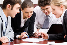 image of business meetings  - Portrait of confident business people interacting in the office - JPG