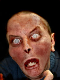 picture of scary face  - Portrait photo of a scary undead or zombie male human - JPG