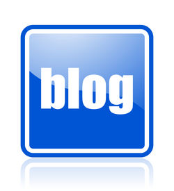 picture of blog icon  - blue web square aqua button with reflection - JPG