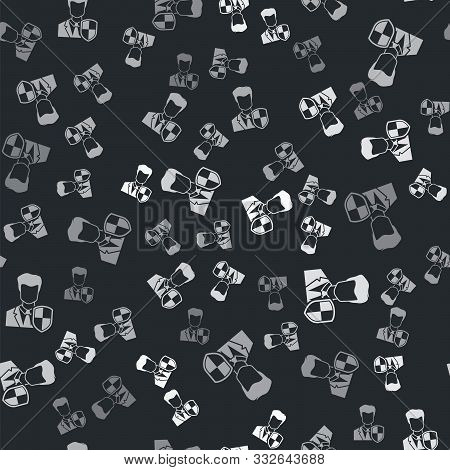 poster of Grey User Protection Icon Isolated Seamless Pattern On Black Background. Secure User Login, Password
