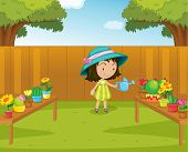 stock photo of gril  - Illustration of a gril watering plants in the garden  - JPG