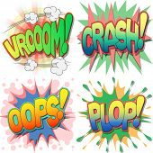 A Selection of Comic Book Exclamations and Action Words, Vroom, Crash, Oops, Plop.