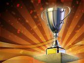 Winner cup standing on a pedestal. Festive orange background. Digital illustration.