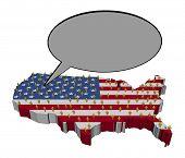 Stem van de Amerikaanse bevolking op kaart vlag afbeelding