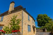 Domme, France. Old Houses of the medieval town of Domme in the Dordogne, France poster