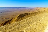 Landscape Of Makhtesh (crater) Ramon, In The Negev Desert, Southern Israel. It Is A Geological Landf poster