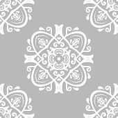 Classic Seamless Pattern. Damask Orient Gray And White Ornament. Classic Vintage Background. Orient  poster
