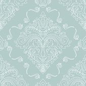 Classic Seamless Pattern. Damask Orient Ornament. Classic Vintage Background. Orient Light Blue And  poster