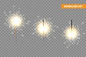 Realistic Christmas Sparkler Collection On Transparent Background. Bengal Fire Effect. Festive Brigh poster