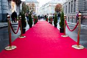 Event Party.red Carpet Between Rope Barriers In The Success Party. poster