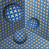 Three Spheres Move In Corner. Optical Illusion Abstraction Of Starry Pattern. poster
