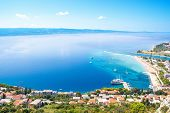 Town Omis Top View. Beautiful View Of The Croatian Coast.  Makarska Riviera, Croatia poster