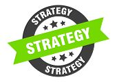 Strategy Sign. Strategy Black-green Round Ribbon Sticker poster