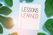 Conceptual Hand Writing Showing Lessons Learned. Business Photo Text The Knowledge Or Understanding  poster
