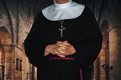 Religious Life Concept - Unrecognized Nun Prays In The Archival Medieval Monastery (mixed) poster