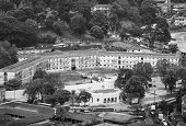 Black And White Picture Of Kandy City Aerial Panoramic View From Bahirawakanda Sri Maha Bodhi Temple poster