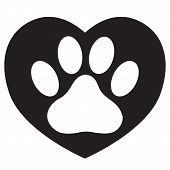 Heart With Animals Footprint Icon On White Background. Flat Style. Pet Paw In Heart Symbol. Love Paw poster