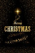 Christmas Tree, Text, Black Background. Gold Christmas Tree, Symbol Of Happy New Year, Merry Christm poster