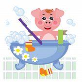 Piggy showering in bath, vector.