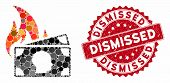 Mosaic Banknotes Fire Disaster And Corroded Stamp Watermark With Dismissed Phrase. Mosaic Vector Is  poster
