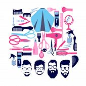 Vector Set Of Collection Silhouette Of Haircutting Tools And Barbershop Objects For Beauty Salon, Ha poster