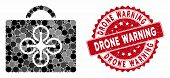 Mosaic Drone Case And Corroded Stamp Seal With Drone Warning Text. Mosaic Vector Is Composed With Dr poster