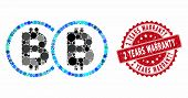 Collage Double Bitcoin And Grunge Stamp Seal With 2 Years Warranty Text. Mosaic Vector Is Designed W poster