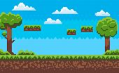 Landscape Page Of Pixel Game, Green Trees And Bushes, Cloudy Sky, Underground And Grass, Road With S poster