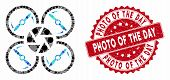 Mosaic Shutter Drone And Grunge Stamp Watermark With Photo Of The Day Phrase. Mosaic Vector Is Compo poster