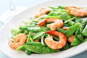 Salt and pepper shrimp with snow peas,Shallow Dof.